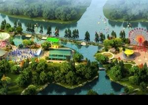 大型游乐场景观设计ps俯瞰图效果图