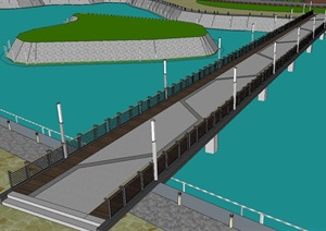 校园内现代景观钢桥SU(草图大师)模型