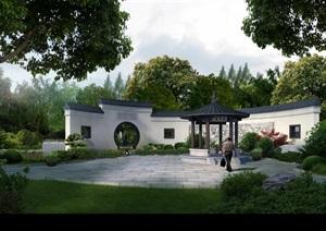 文化广场中式景墙亭子景观设计ps效果图