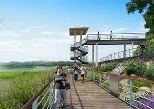 湿地公园跑道景观设计ps效果图