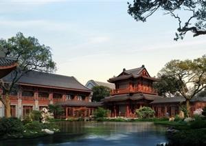 中式建筑庭院花园景观设计ps效果图
