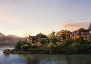 湖边别墅园林景观设计ps效果图