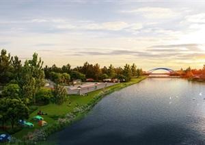 滨江公园广场绿地湖泊景观设计ps俯瞰图