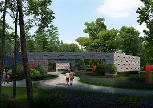 公园景区文化广场景观设计ps效果图