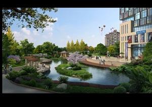 小区商业街花园景观设计ps效果图