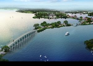 城市湖景园林景观设计ps俯瞰图效果图