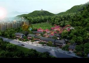 景区植物园梅园景观设计ps俯瞰图效果图