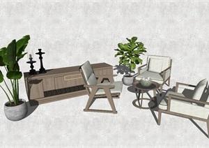 现代组合沙发SU(草图大师)模型