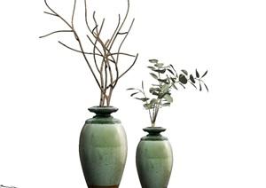 新中式花瓶装饰品摆件 陈设 SU(草图大师)模型1