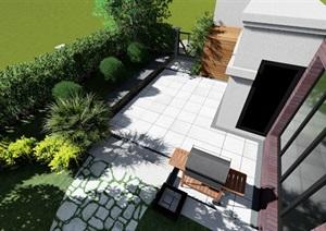 别墅庭院花园景观设计SU(草图大师)模型1.0