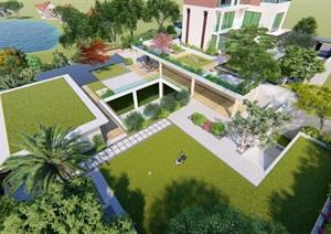 现代别墅庭院平台花园景观设计SU(草图大师)模型
