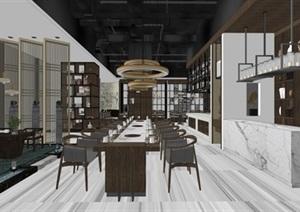 新中式禅意餐厅室内设计SU(草图大师)模型