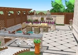 欧式别墅庭院花园景观设计SU(草图大师)模型1.0