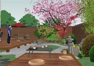 日式小院花园中式别墅庭院景观设计SU(草图大师)模型