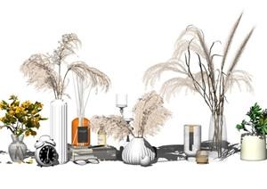 现代装饰品花瓶盆栽摆件SU(草图大师)模型