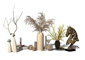 现代装饰品盆栽摆件陈设花瓶SU(草图大师)模型