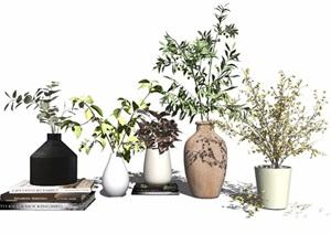 现代盆栽花瓶植物摆件书籍装饰品SU(草图大师)模型