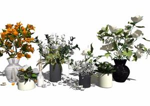 现代盆栽花瓶植物装饰品绿植摆件SU(草图大师)模型