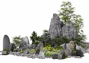 新中式假山石头植物景观小品庭院景观SU(草图大师)模型