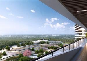 现代风格第一人民医院建筑设计方案SU(草图大师)模型