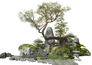 新中式景观小品假山石头水景松树植物叠石SU(草图大师)模型