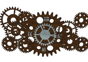 工业风格机械齿轮钟装饰SU(草图大师)模型