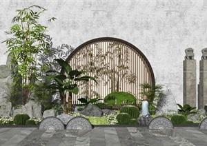新中式景观小品假山叠石景墙植物拴马柱石灯SU(草图大师)模型
