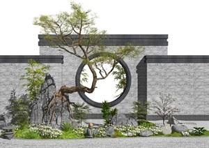 新中式景观小品枯山水假山石头松树景墙植物SU(草图大师)模型