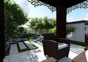 别墅庭院花园新中式景观设计SU(草图大师)模型