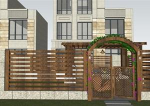 别墅庭院现代花园景观设计SU(草图大师)模型