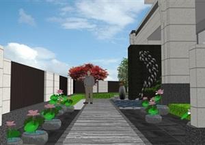 现代别墅庭院景观设计花园景观设计SU(草图大师)模型