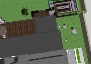 现代平台庭院花园景观设计SU(草图大师)模型