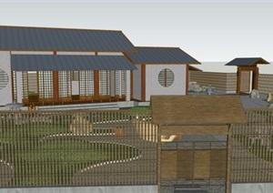 日式建筑日式庭院花园景观设计SU(草图大师)模型
