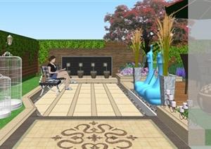 别墅样板花园欧式庭院景观设计SU(草图大师)模型