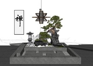 日式枯山水禅意园林景观小品新中式古典园林设计石灯笼水钵假山石景别墅花园小场景SU(草图大师)模型