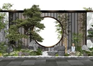 新中式景观小品庭院景观景墙假山石头松树水景植物SU(草图大师)模型