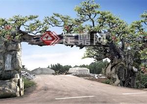 生态观光园仿树假山大门设计方案PSD效果图