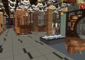 新中式装潢设计室内饭店茶室装修设计方案SU(草图大师)模型