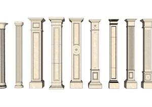 各种造型的精致欧式罗马柱SU(草图大师)模型