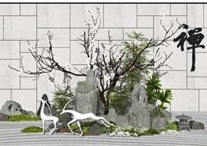 新中式景观小品假山石头景墙景观雕塑枯山水植物景观树SU(草图大师)模型