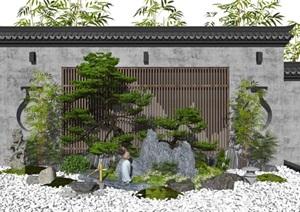 新中式景观小品假山石头景墙水景植物松树庭院景观枯山水SU(草图大师)模型