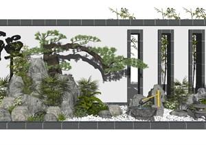 新中式景观小品假山石头水景庭院景观景墙碎石SU(草图大师)模型