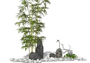 新中式园林景点组合设计日式枯山水小品别墅屋顶花园SU(草图大师)模型