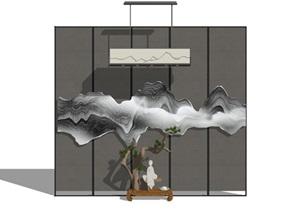 新中式室内艺术摆件办公室收藏禅意小品艺术背景墙设计SU(草图大师)亿博网络平台