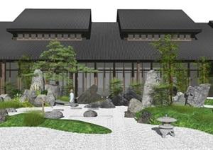 新中式景观小品枯山水庭院景观假山石头水景松树植物SU(草图大师)亿博网络平台