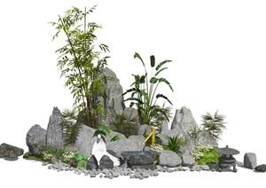 新中式景观小品庭院景观假山石头水景植物SU(草图大师)亿博网络平台1