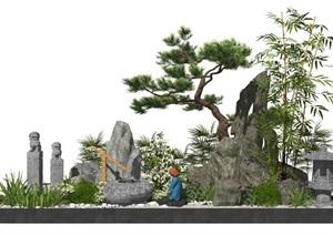 新中式景观小品庭院景观假山石头水景松树栓马柱SU(草图大师)亿博网络平台