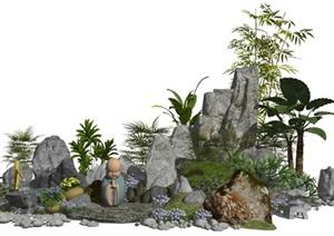 新中式景观小品假山石头水景植物庭院景观SU(草图大师)亿博网络平台