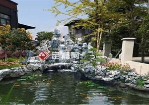 庭院太湖石假山水系效果图