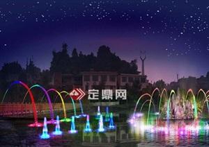 喷泉夜景PSD效果图方案